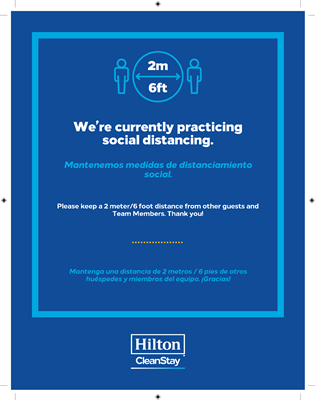 Dual Language Hilton CleanStay Social Distancing Stickers