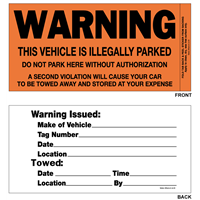 "Parking Violation Stickers - 3"" x 5.875"""