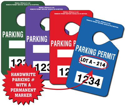 Parking Permit Hang Tags