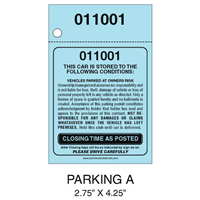 2 Part Valet Parking Ticket A
