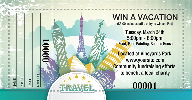 raffle ticket designs for a travel themed prize