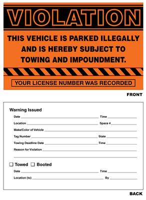 "Parking Violation Stickers - 5"" x 8"""