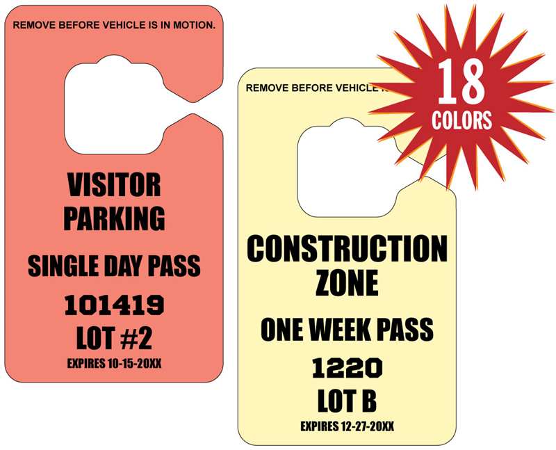 Parking Permits | Temporary Parking Permits | Custom Hang Tags