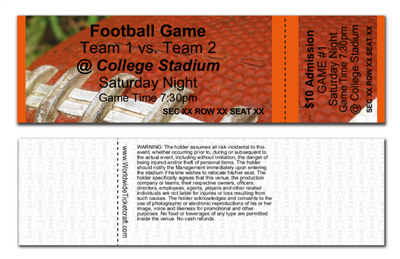 Horizontal Reserved Seating Football Tickets