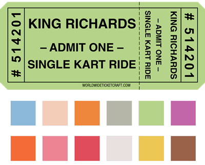 "DIY Single Roll Raffle Tickets 3.5 x 1.5"" w/Stub"