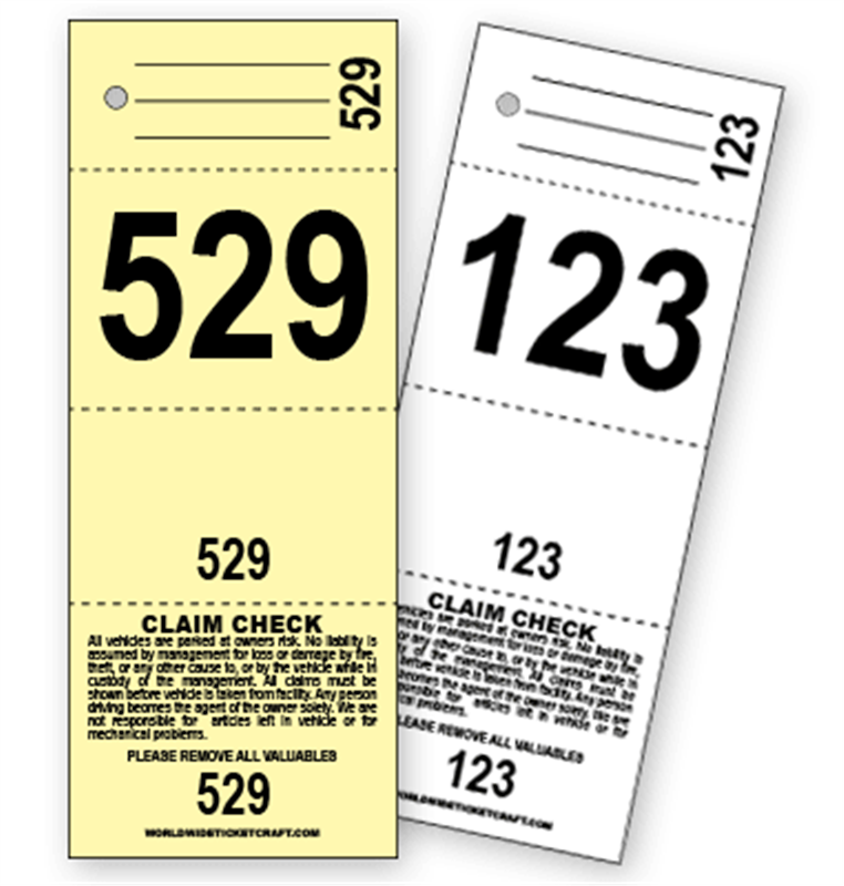 Buy 4 part valet parking ticket e for Coat check tickets template