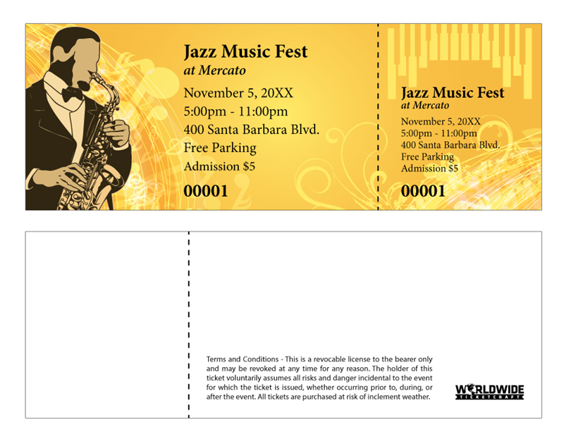 Buy tickets for jazz music festival for Coat check tickets template