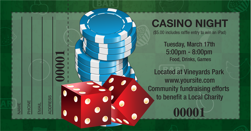 Casino night ticket printing