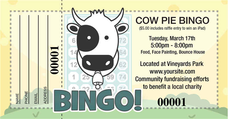 Large Cow Pie Bingo Raffle Tickets