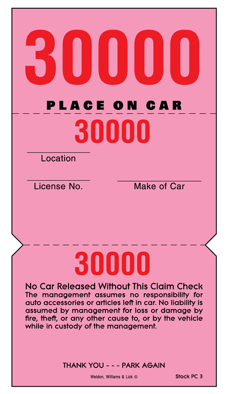 $37.06 per box of parking claim check stock.