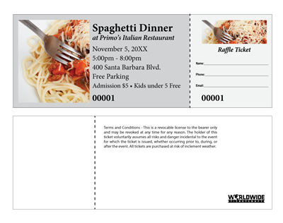 Buy event raffle tickets for spaghetti night fundraisers for Fundraiser dinner tickets template