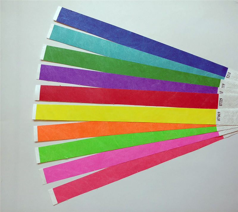 1 box has 500 waterproof Tyvek Wristbands in the color you need.