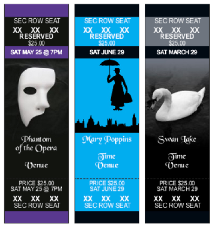 Broadway and show themed tickets for Reserved Seating events