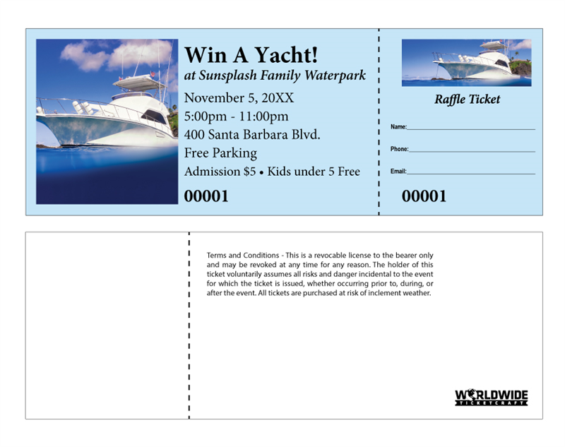 Yacht raffle tickets for Coat check tickets template
