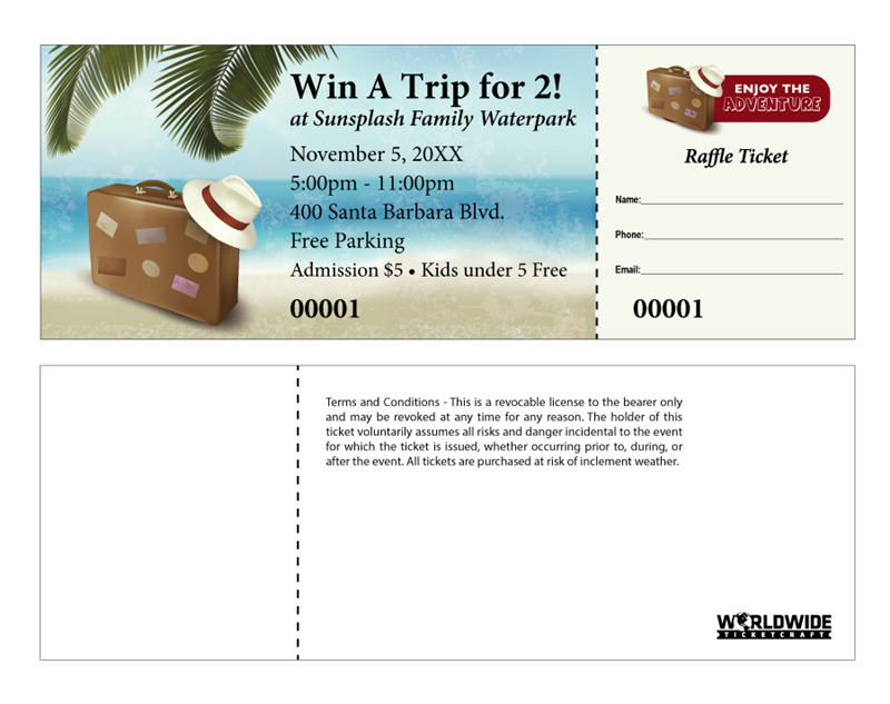 Order travel themed raffle tickets for Coat check tickets template