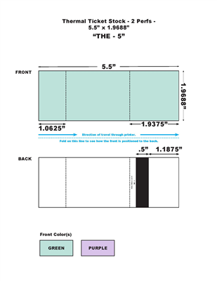 Blank Thermal Ticket Stock - Solid Bar, 2 Perfs