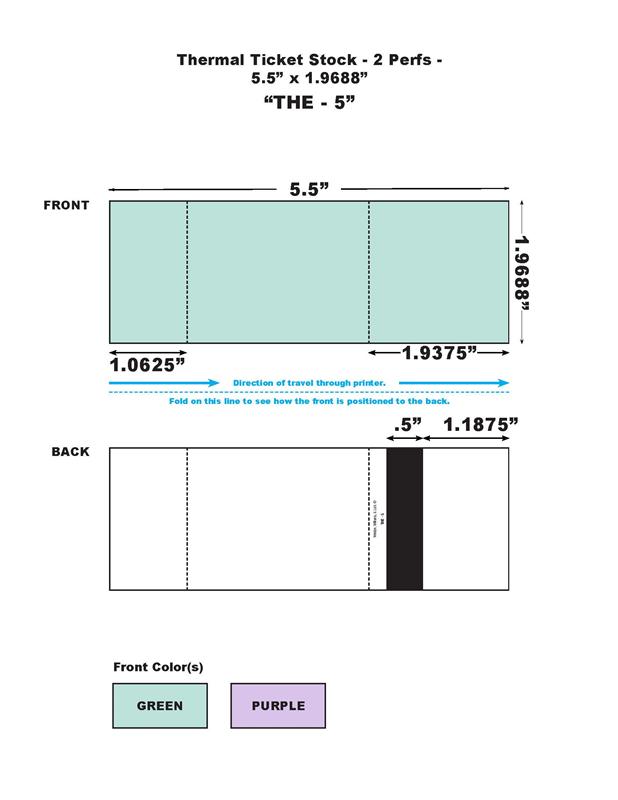 buy fan folded thermal ticket stock solid bar 2 perfs