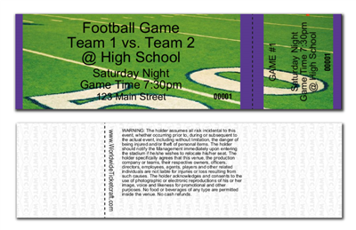 Horizontal General Admission Football Tickets
