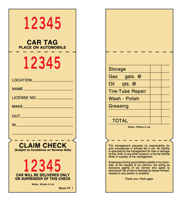 Parking Claim Check - 2 Part
