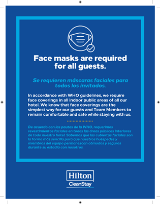 Dual Language Hilton CleanStay Face Mask Requirement Stickers