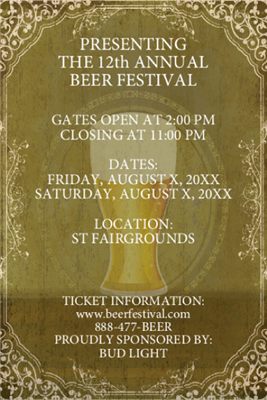 Design It Yourself 12 X 18 Beer Festival Posters