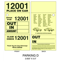 3 Part Valet Parking Ticket D