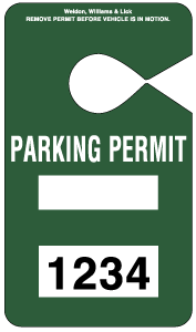 HH-2 Stock Parking Permit Hangtag - Dark Green