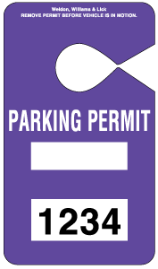 HH-2 Stock Parking Permit Hangtag - Purple