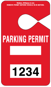HH-2 Parking Permit Hangtag - Red
