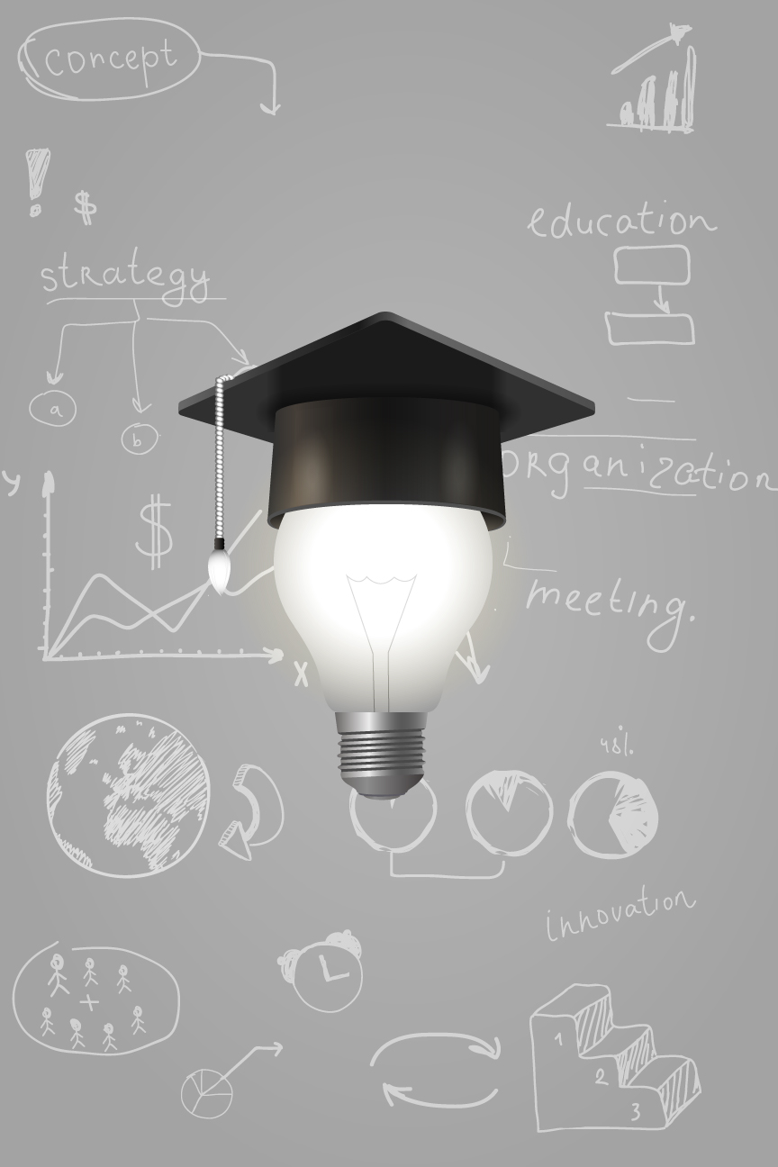 Graduation Poster Lightbulb with Graduation Hat