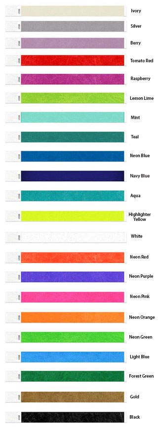 Tyvek Wristband Color Options